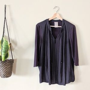 ANTHROPOLOGIE Navy Lucille Tie Neck Blouse
